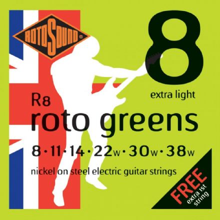 Rotosound R8 Roto Green 8-38 Nickel Electric Guitar Strings